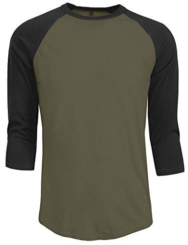 NE PEOPLE Mens 3/4 Sleeve Baseball Tshirt Raglan Jersey Shirt S-2XL ()