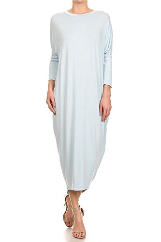 Sleeve USA Dress Light S Long in Solid Blue Cover Up Maxi 2X Ami 12 Made CtqAaa
