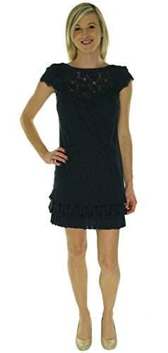 Jessica Simpson Womens Tiered Hem Lace Dress Evening Blue