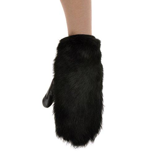 ZLYCクラシック 革手袋 レックスラビットファー 豪華 グローブ 手ぶくろ 防寒 レディース 冬 暖かい