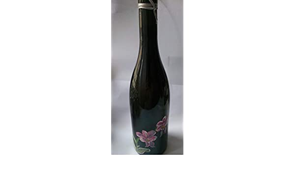 botella decorada, negra con flores rosas,orquídeas.: Amazon ...