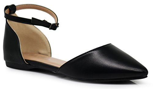 Hepburn Flat - Enzo Romeo Piana Flat Pointed Ankle Strap Women's Casual D'Orsay Pointed Plain Ballet Comfort Soft Slip On Flats Shoes New (9, Black)