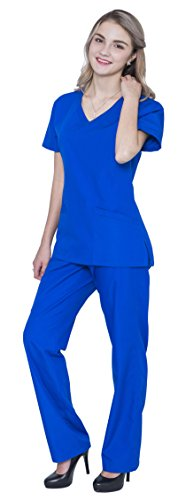 Pandamed V Neck Nursing Women Scrubs Set Doctor Uniform Slim Scrub Top and Pants JY1607 (Royal, L)