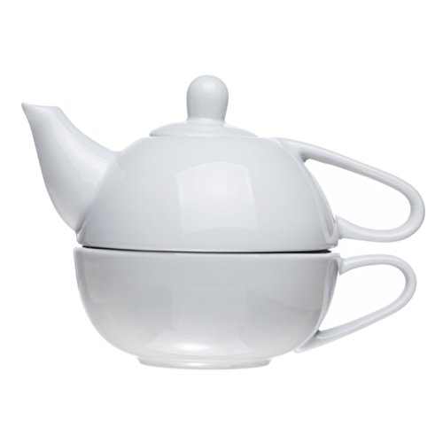 2-Piece Stacked Teapot and Teacup for One (13.5 oz), White Porcelain, Restaurant&Hotel Quality