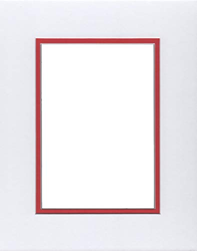 16x20 White & Bright Red Double Picture Mat, Bevel Cut for 11x14 Picture or Photo