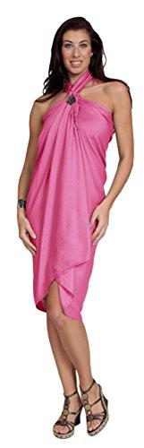 1 World Sarongs Donna Pareo Copricostume Tinta Unita Rosa