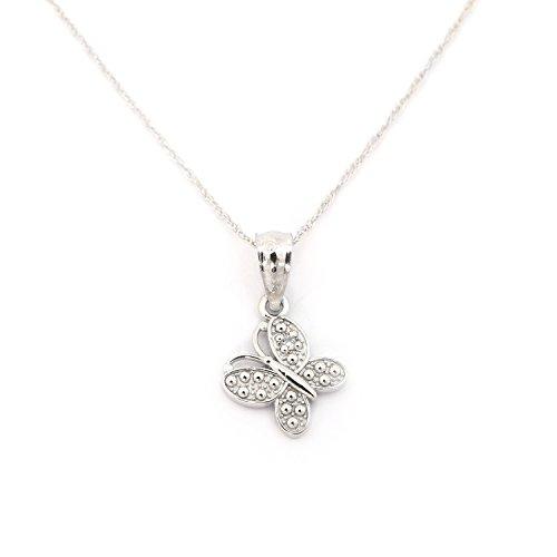 14k White Gold .01ct Diamond Butterfly Pendant Necklace - (Diamond Dress Shirt)