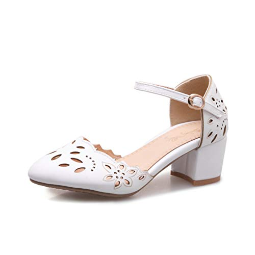 Crimeng Women Hollow Heeled Sandals Summer Closed Pointed Toe Adjustable Buckle Chunky Heel Party Shoes