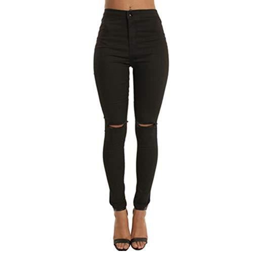 Minces Wuraxy Jeans Genoux FemmesTrous Pour Black Extensibles 5AqSR4L3jc