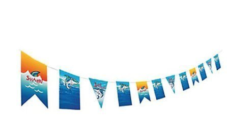 Oriental Trading Company Shark Jawsome Birthday Party Garland - Card Stock Pennant Decoration Banner - Shark Party -