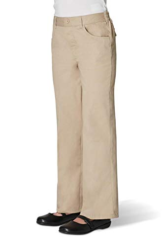 - French Toast Girls' Big Twill Bootcut Pull-On Pant, Khaki, 7
