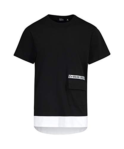 62b874c3b Oversized Men's tee Shirt with Flap Pocket and Contrast Hem, Made in Italy  (Black