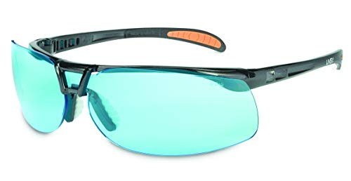 Uvex by Honeywell Protégé Safety Glasses, Metallic Black Frame with SCT-Blue Lens & HydroShield Anti-Fog Coating (S4221HS)