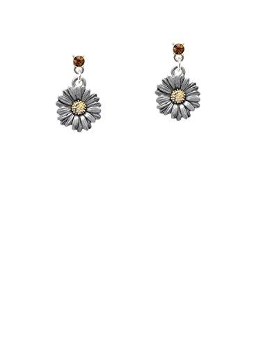 Earrings Two Brown Tone (Two-tone Daisy Flower Brown Crystal Post Earrings)