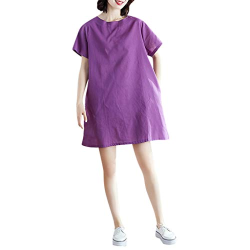 (Vintage Summer Casual Cute Women Short Sleeve Knee Length Loose Hem Dress Purple)