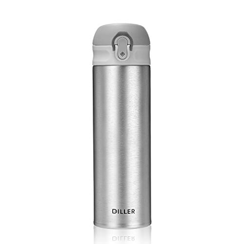 DILLER Vacuum Insulated Water Bottle,Stainless Steel Thermos Coffee Travel Mug BPA-Free Thermos Flask ,Keeps Cold 24H, Hot 12H,17 oz (silver)