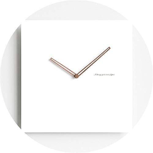 (be-my-guest Modern Wooden Board Wall Clock Unique Nordic Minimalist White Square Shape Artistic Silently Suzuki Clock for Cafe Home Decor,7)