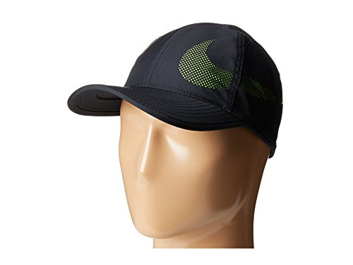 (Nike Unisex Featherlite Aerobill Perforated Swoosh Hat Black/Volt 840455-010)