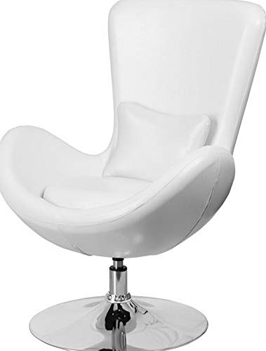 (Campton Contemporary Design White Leather Egg Series Reception Lounge Accent Side Chair | Model LNGCHR - 62)
