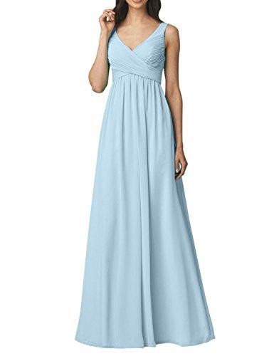 Partykleider Chiffon Einfach A mia Brautjungfernkleider Ausschnitt Abendkleider Blau Ausschnitt Langes Himmel v Festlichkleider v Brau Rock La Linie WwqY1EFtE