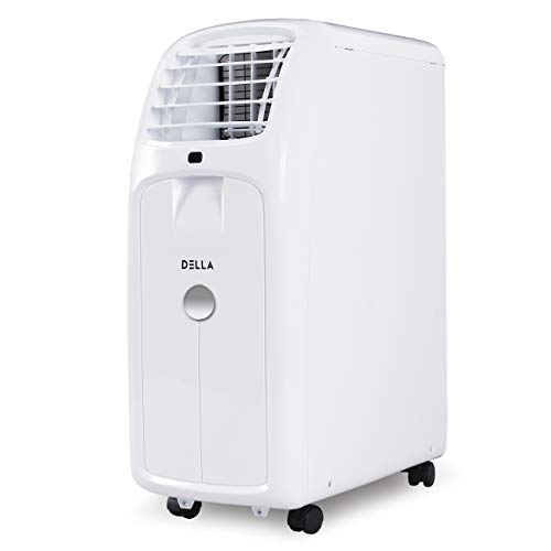 DELLA 8,000 BTU Portable Air Conditioner Cooling for Rooms Up To 350 Sq. Ft. - Fan - Dehumidifier - Timer -Remote Control - Wheels - Window Vent Kit - UL Listed