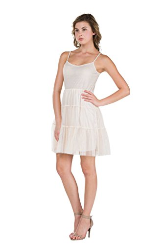 Melody [Shop Lev] Women's Slip Dress With Tiered Mesh Skirt and Adjustable Straps