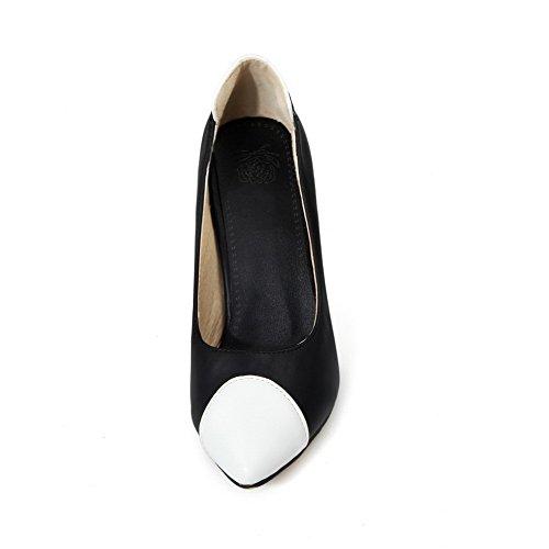 AllhqFashion Damen Ziehen auf PU Spitz Zehe Hoher Absatz Gemischte Farbe Pumps Schuhe Schwarz