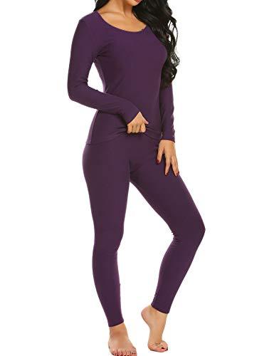Ekouaer Long Thermal Underwear Fleece Lined Winter Base Layering Set for Women Fleece-purple X-Large