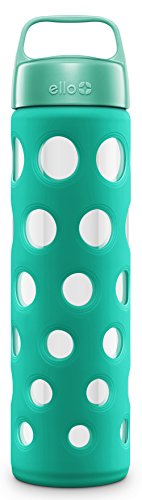Ello Pure BPA-Free Glass Water Bottle with Lid, Teal Fizz, 20 oz.