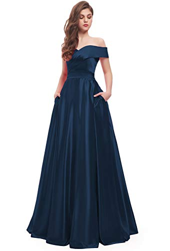 BEAUTBRIDE Women's Off Shoulder Long Prom Dress Evening Gown with Pocket Navy Blue 6