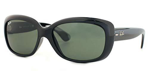 Ray-Ban RB4101 Jackie OHH Polarized Rectangular Sunglasses (Black Frame, Crystal Green Polarized Lens 601/58)