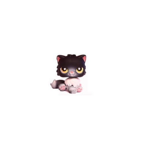 Littlest Pet Shop Persian Kitten Cat # 435 Halloween Kitty (Black, White And Gray With Yellow Eyes) - LPS Loose Figures - Replacement Pets - LPS Collector Toy (Out Of Package/OOP)