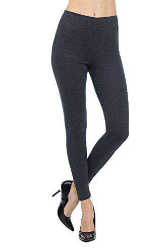 JNTOP Co. Womens Cotton Full Length Knit Leggings Elasticized Waist