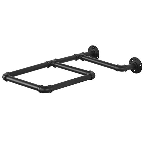 MyGift Wall-Mounted Black Industrial Pipe and Rustic Wood Storage Rack for Exercise Ball