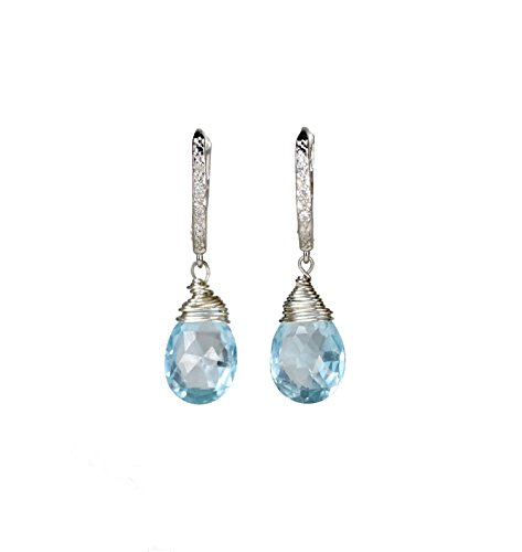 Swiss Blue Topaz Gemstone Sterling Silver Diamond Earrings Sky Blue - 1.35'' Length by Nadean Designs