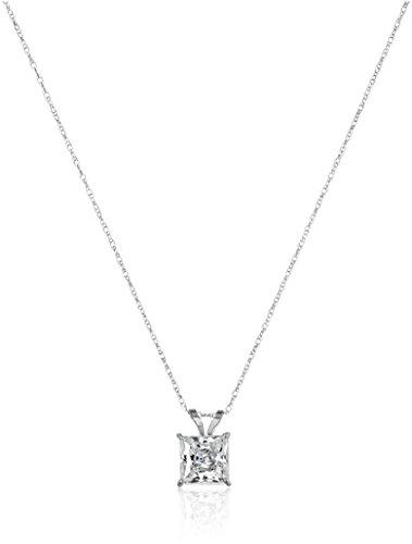 10K White Gold  Swarovski Zirconia Princess Cut Solitaire Pendant Necklace (1 cttw), 18