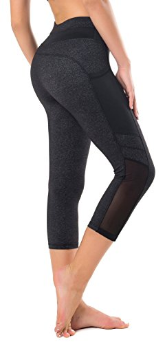 711265c94ce3a Sudawave Womens Mesh Capri Workout Yoga Running Pants Active Tights  Leggings with Side Pocket