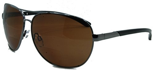 In Style Eyes C Moore Polarized Aviator Nearly Invisible Line Bifocal Sunglasses/Pewter-Brown/1.50 Strength