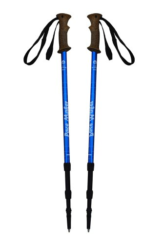 """Pair of PaceMaker """"Journey"""" Antishock Trekking Poles with Attachments and Extended Life Vulcanized Rubber Feet. (Blue), Outdoor Stuffs"""