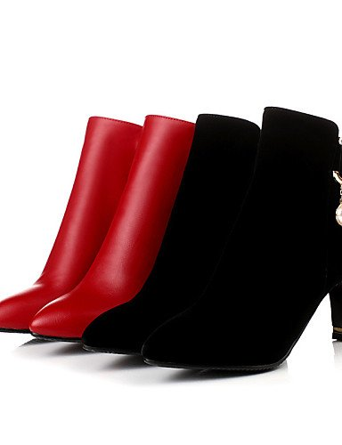 us8 Negro Zapatos Moda Fiesta Vellón La Uk4 Y A Cn36 Vestido Red Uk6 us6 Black Rojo Eu36 Mujer Xzz Cono Cn39 Tacón Semicuero De Eu39 Noche Botas UwxOqdvZ8
