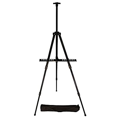 Easel, Berland Black Aluminum 71 Inches Tall, Portable, Lightweight and Sturdy Telescoping Tripod for Tabletop or Floor - Perfect for Field, Display and Presentation - Includes Carry Bag from Qtinuous