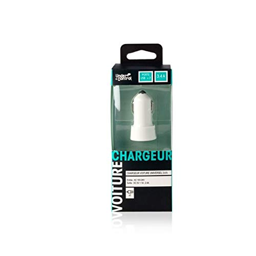 Under Control - Chargeur Voiture USBx2 Blanc - 3700372708623