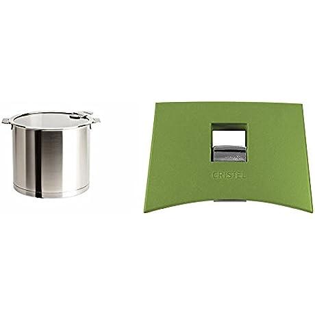 Cristel Strate M20QLKSA Stockpot 5 5 Quart Silver With Cristel Mutine Spplmavt Set Of Handles Green
