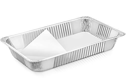 Aluminum Full Size Deep Pan -Parchment Lined - 5 Pack Aluminum Oblong Foil Deep Pan - Oblong Pan Cheesecake