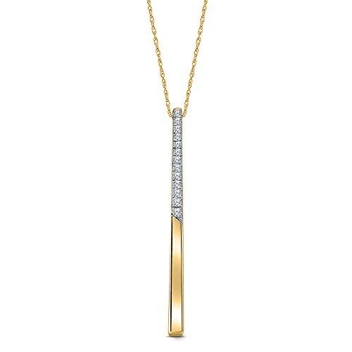1/20 Cttw Round White Natural Diamond 10K Yellow Gold Stick (10k Round Necklace)