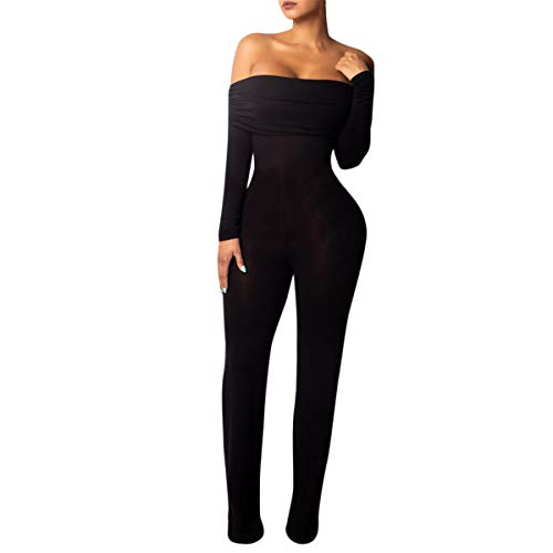 Kalinyer Womens Outfits Party, Women's Sexy Off Shoulder Long Sleeve Long Pant Bodycon Jumpsuit Skinny Romper(Black,L)