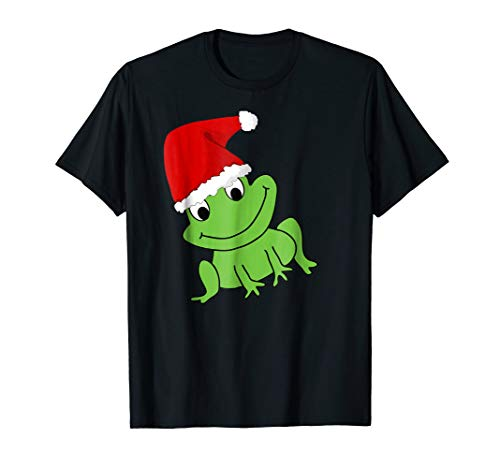 Funny Christmas Festive Frog Santa Hat Holidays T-shirt