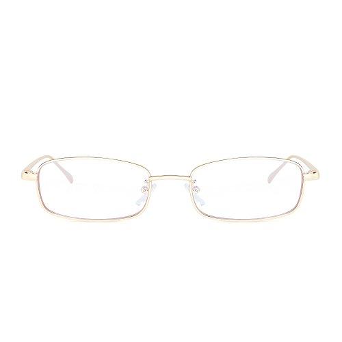 Claro de Delgado Dorado Lentes Rectangular Pequeño Anteojos Gafas Transparente Mujer Metal Hombre Teñido Sol nIUdwYqB