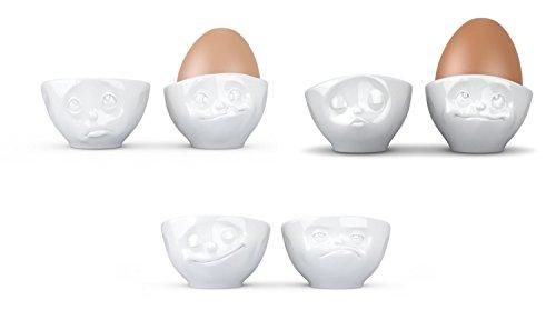 Fiftyeight TV Tassen Eierbecher 6er Set, Eier Becher, Eierhalter, aus Porzellan, Weiß