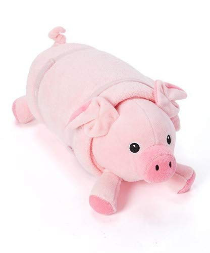 ROLLEE POLLEE Pets Collection, Pig in a Blanket for Toddlers with Elastic Straps and Extra Top Blanket, Super Soft, Fits on Cots and Mats, Pink -